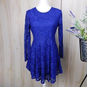 Altar'd State Royal Blue Lace Long Sleeve Dress